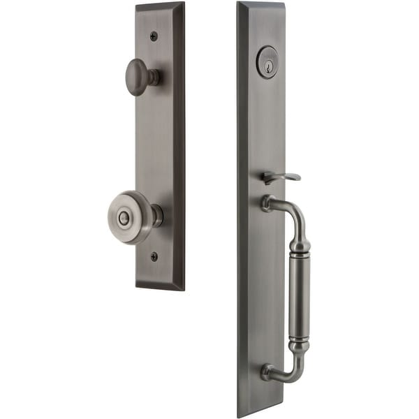 """Grandeur FAVCGRBOU_ESET_234 Fifth Avenue Solid Brass Rose Keyed Entry Single Cylinder """"C"""" Grip Handleset with Bouton Knob and"""