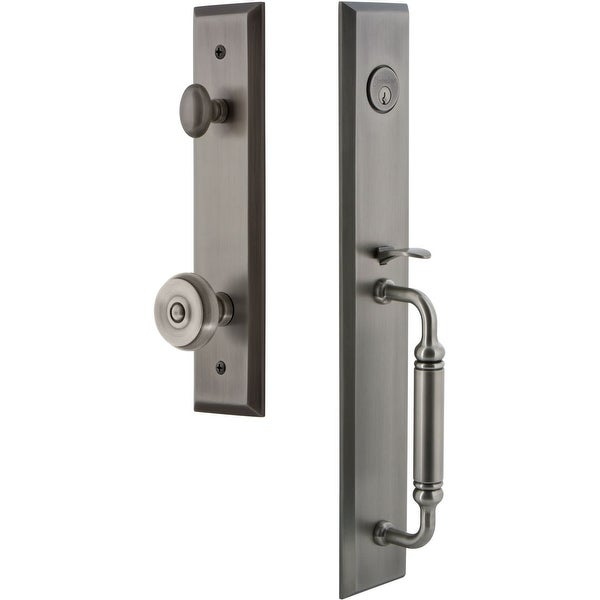 """Grandeur FAVCGRBOU_ESET_238 Fifth Avenue Solid Brass Rose Keyed Entry Single Cylinder """"C"""" Grip Handleset with Bouton Knob and"""