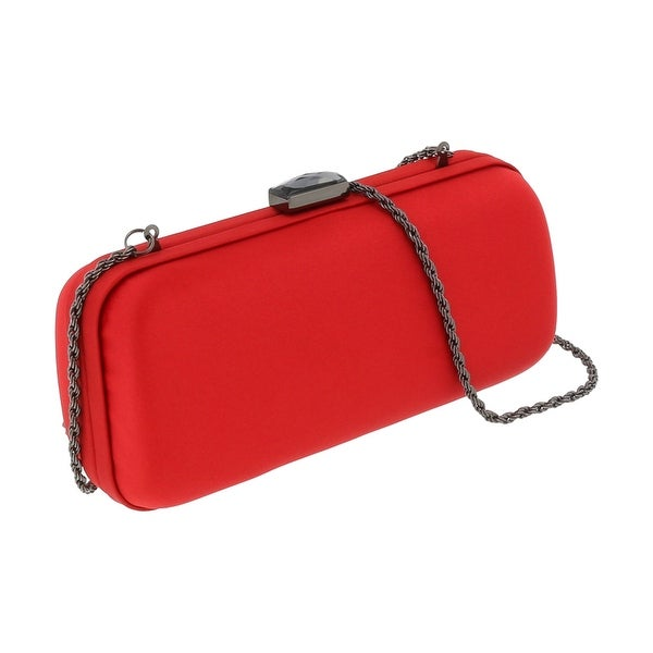 Scheilan Crimson Red Satin Box Clutch - 7-3-2