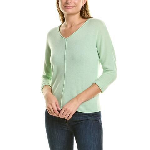 Forte Cashmere Seamed Dolman V-Neck Cashmere Sweater