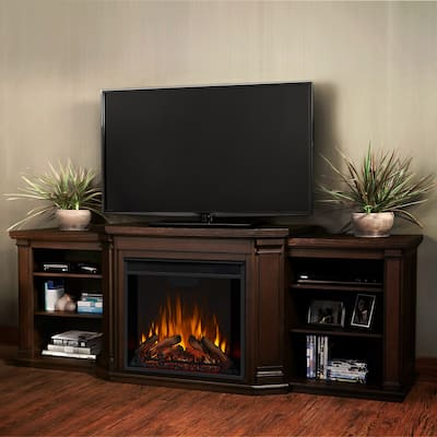 Valmont Media Electric Fireplace Chestnut Oak - 75.5 W x 21.5 D x 27.7 h