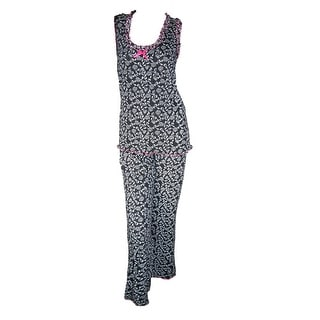 CTM® Women's Cotton English Rose Tank Top Pajama Sleep Set