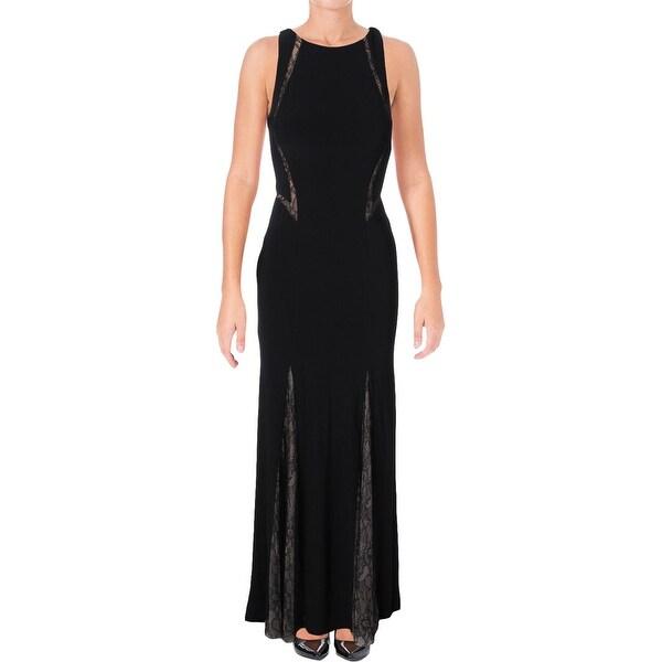 Aqua Womens Evening Dress Lace Inset Hi-Low