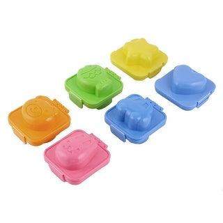 Kitchen Plastic Cortoon Shape DIY Sandwich Egg Rice Ball Mould Multicolor 6pcs