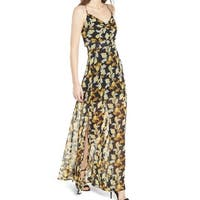 4Si3nna Black Leaf Floral Print Women's Size XL Chiffon Maxi Dress