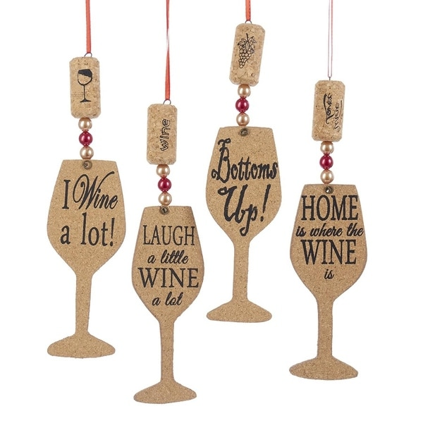 pack of 24 wooden cork wine glass silhouette christmas ornaments 6 brown