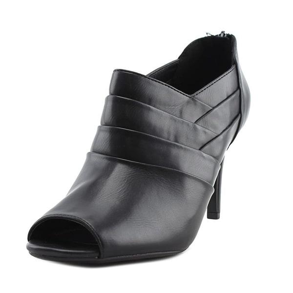 Impo Tonette Women Peep-Toe Leather Black Heels