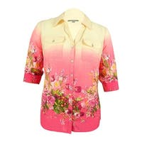 NY Collection Women's Floral Print Tab Sleeve Shirt