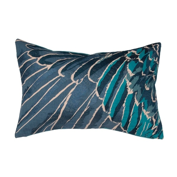 "24"" Denim Blue Cyan Blue and Pearl White Animal Print Cotton PlumageThrow Pillow"