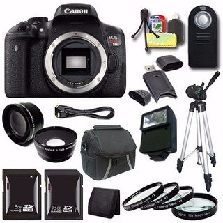 Canon EOS Rebel T6i DSLR Camera (Body Only) 0591C001 + 16GB SDHC Card + 8GB SDHC Card + 2x Telephoto Lens + Case + Tripod Bundle