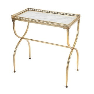 "28"" Gold Finish and Marble Inlay ""Gracie"" Occasional Table"