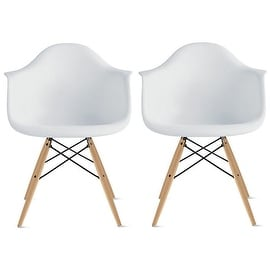 2xhome - Set of Two (2) - White - Eames Style Armchair Natural Wood Legs Eiffel Dining Room Chair - Lounge Chair Armchair