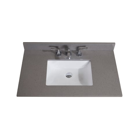 Altair Design Imperia 37 in. Mountain Gray Bathroom Vanity Top with White Sink