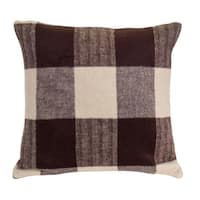 """Set of 4 Coffee Brown and Mavue Moon Decorative Plaid Pattern Throw Pillow with Knife Edge 17"""""""