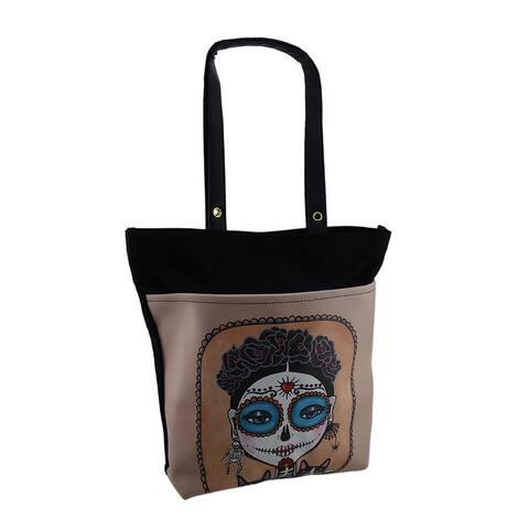 DOD Sugar Skull Skeleton Girl w/Black Cats Vinyl & Canvas Tote Handbag