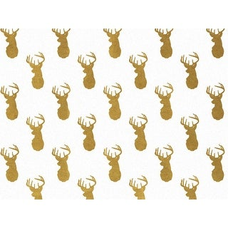 "Pack Of 120, Golden Deer Recycled Christmas Printed Tissue Paper 20"" X 30"" Sheets Half Ream Made In Usa"