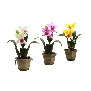 Nearly Natural Cattelya Orchid with Vase Arrangement - Set of 3 - orted