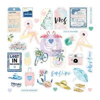 Santorini Ephemera Cardstock & Acetate Die-Cuts 55/Pkg-Shapes, Tags, Words, Foiled Accents