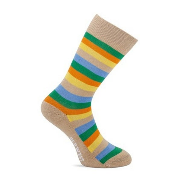 Old West Socks Girls Over Calf Striped Cushioned Multi-Color