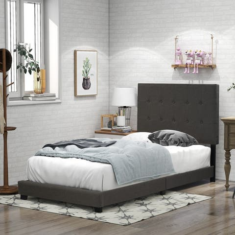 Upholstered Stitch Tufted Platform Bed with Slat Support, Twin, Grey