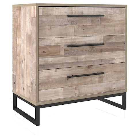 3 Drawer Wooden Chest with Metal Legs, Washed Brown and Black