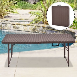 Costway 4' Folding Table Rattan Portable Indoor Outdoor Picnic Party Dining Camping