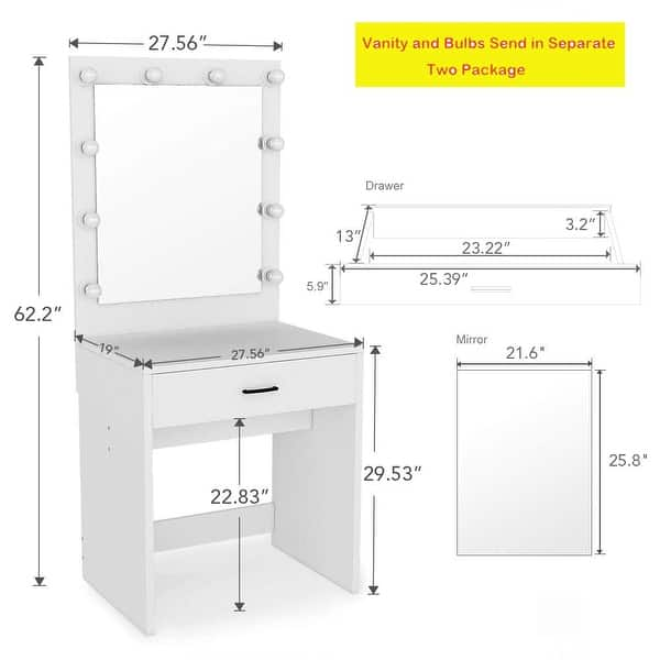 Shop Makeup Vanity With Lighted Mirror Dressing Table Dresser Desk For Bedroom Stool Not Included On Sale Overstock 25628566
