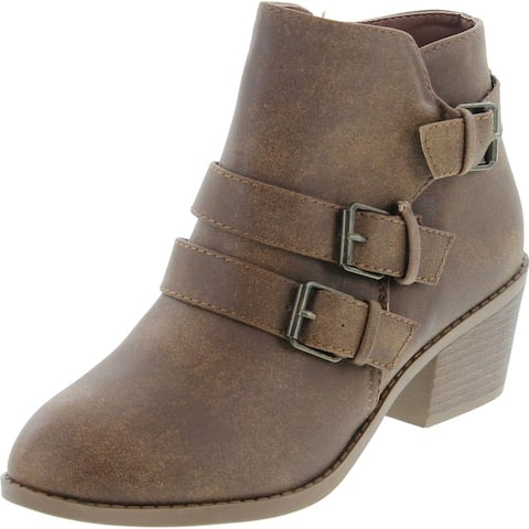 Forever Link Eury-4 Women's Fashion Round Toe Buckles Zipper Low Heel Ankle Booties Shoes