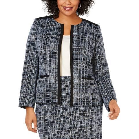 Kasper Womens Jewel Neck Jacquard Blazer Jacket, Blue, 16W