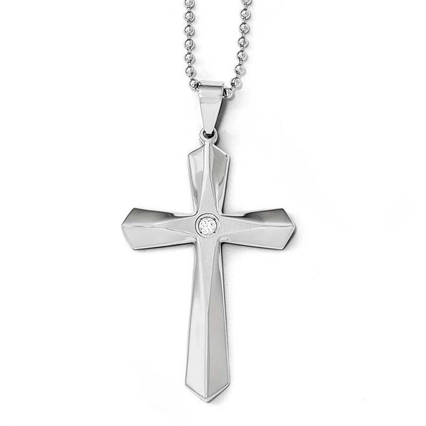 Chisel Stainless Steel Polished and Brushed CZ Cross Necklace - 24 in