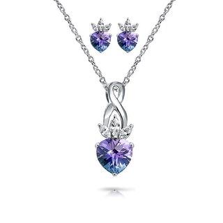 Bling Jewelry Pink CZ Heart Pendant Earrings Set Silver