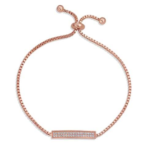 Bolo Style Tennis Bracelet Cubic Zirconia CZ Bracelet Silver Plated
