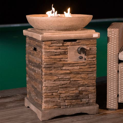 COSIEST Outdoor Propane Fire Pit Table With 20-inch Square Base,Round Bowl