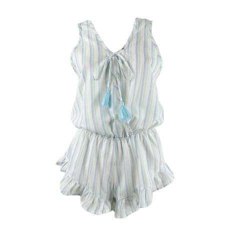 Miken Women's Tie-Front Ruffled Romper Swim Cover-Up - White Clearwater
