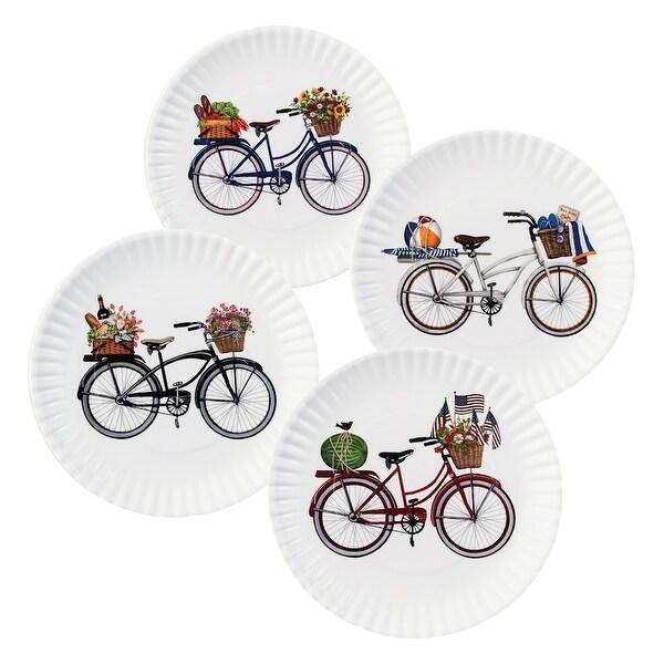 Summer Bikes Melamine Plates - 9  - Set ...  sc 1 st  Overstock & Shop Summer Bikes Melamine Plates - 9