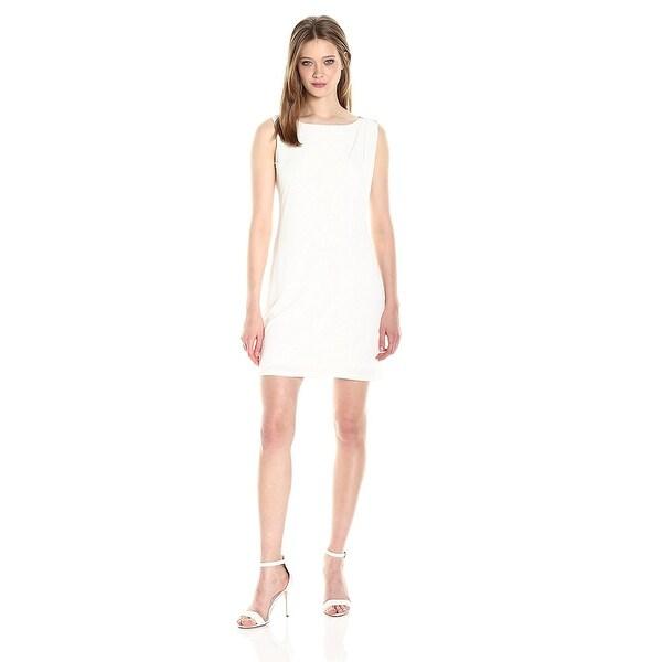 Jessica Simpson Asymmetrical Layered Faux Wrap Shift Dress Ivory