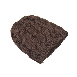 Unisex Stretchy Soft Cable Knit Slouchy Beanie Hat Brown
