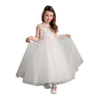 Girls Ivory Tulle Illusion Junior Bridesmaid Dress (2 options available)