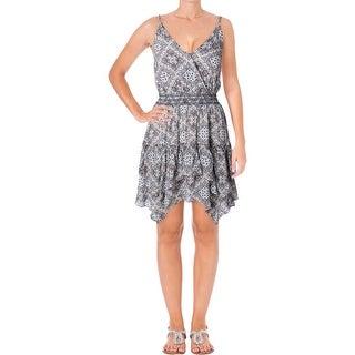 Aqua Womens Sundress Handkerchief Hem Printed