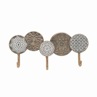Foreside Home & Garden Distressed Metal Henna Pattern Decorative Wall Hook - 2.25x15.25x7.25