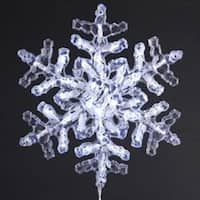 "12"" Polar White Clear Crystal LED Snowflake Christmas Wall Decoration"