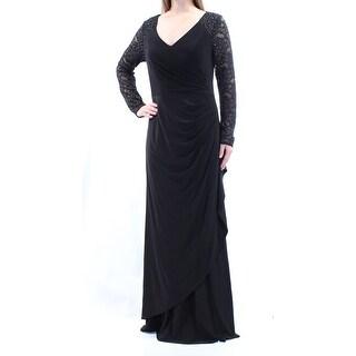 ALEX EVENINGS Womens New 1023 Black Lace Long Sleeve Faux Wrap Dress 10 B+B