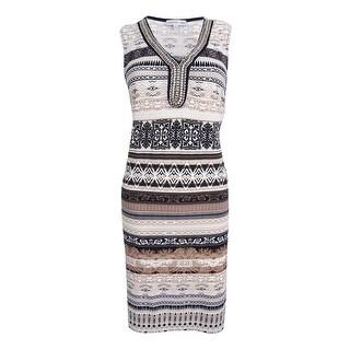 Sandra Darren Women's Embellished Printed Sheath Dress (6, Ivory/Tan) - Ivory/Tan - 6