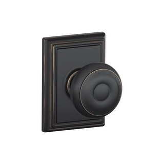 Schlage F10-GEO-ADD Passage Georgian Door Knobset with the Decorative Addison Rose