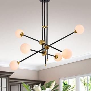 Link to Emillo Brass Matte Black with 6 Light Bulb Chandelier Similar Items in Pendant Lights