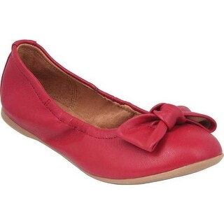 Nina Girls' Karla Ballet Flat Red Smooth Synthetic
