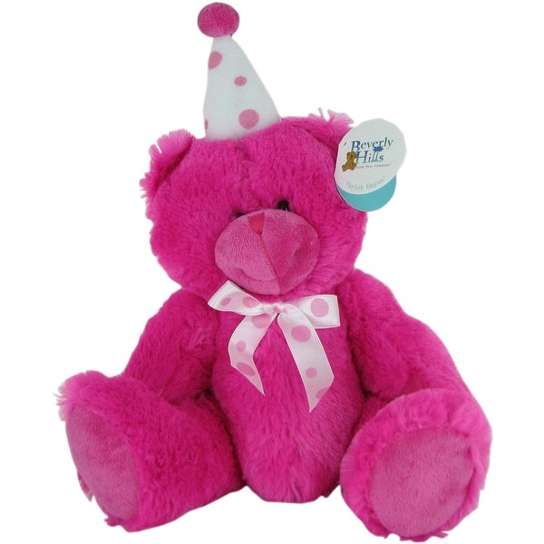 Pink Birthday Bear with Party Hat