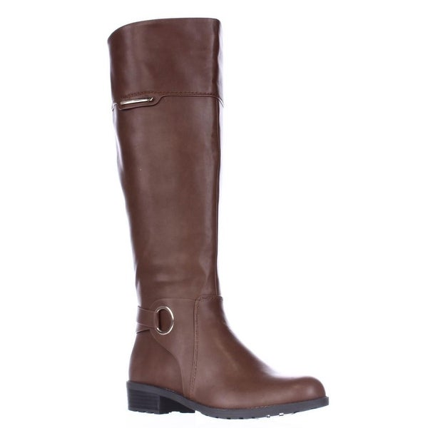 A35 Jadah Tall Wide Calf Riding Boots, Cognac