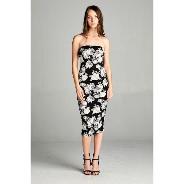 dd47ff5c61f06 Shop Monochrome Floral Strapless Bodycon Mini Tube Dress - Black ...