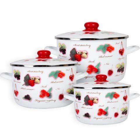 MET-ROT Berries Delight Enamel on Steel Set of 3 Pots w/ Lid